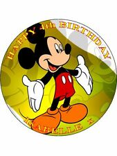 "MICKEY MOUSE - DESIGN 7  PERSONALIZED 7.5"" CIRCLE ICING CAKE TOPPER"