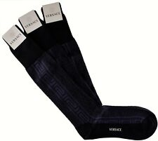 NWT VERSACE SOCKS 3 PAIRS LOT cotton greca key blue Scottish thread Italy 12,5