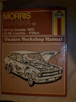 Haynes Owners Workshop Manual - Morris Marina 1.8  1971 - Oct.1975