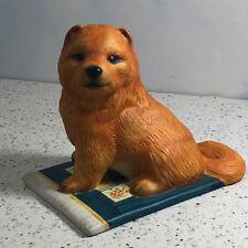 Franklin Mint Puppy Dog Figurine sculpture vintage 1987 Chow brown carpet blue