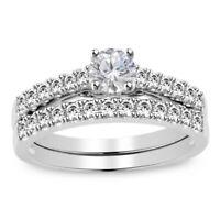1.75 ct Round Cut Diamond 14k White Gold Over Engagement Wedding Ring Set
