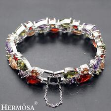 Hermosa 925 Sterling Silver Peridot Amethyst Garnet Topaz Bracelets 7''