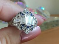 Xavier Sterling Silver 2.26ct Absolute CZ Baguette & Blue Enamel Ring