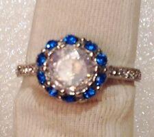 anillo 925 troquelado anillas cristales zafiro solitario tallado diamante T.59