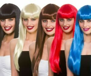 Fantasy Wig Ladies Fancy Dress Costume Accessory Adults Wig Coloured