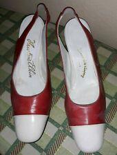 "Vintage 1960s Ladies Newton Elkin Red White Leather Shoes 2.5"" Pumps Size 7 1/2B"