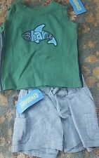 Boys Gymboree Shark Reef Outfit 3-6 months shark tank top shorts NWT