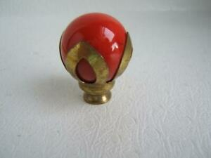 VINTAGE RED GLASS LAMP FINIAL