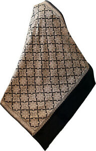 "Large Crewel Ari Embroidery Gold on Black Wool Shawl in Floral Pashmina 80""x40"""