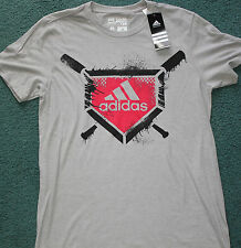 NWT Mens Adidas M Gray/Red/Black BASEBALL Go-To Performance Tee Shirt Medium