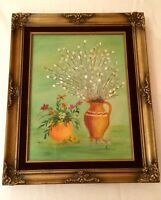 Retro Framed Oil Painting Floral Flower Still Life Vintage Black Velvet Matte