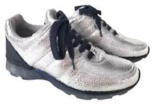 CHANEL CC LOGO CRACKED LEATHER SILVER METALLIC SNEAKERS TENNIS SHOES TRAINERS 37