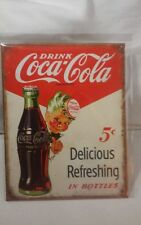 Coca Cola Tin Sign - Retro Metal Coke Sign - Man Cave, Garage, Kitchen