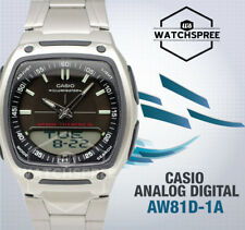 Casio Aw81d-1av Data Bank Stainless Steel Digital Analog Watch 10 Year Battery