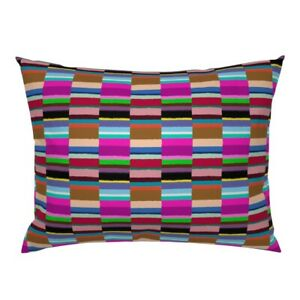 Tribal Bohemian Stripe Rainbow Abstract Bright Colorful Pillow Sham by Roostery