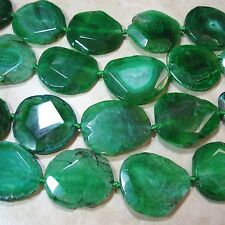 Green Agate 40-45mm Large Flat Oval Nugget 3 Beads 1.5mm Lg Hole Focal Statement