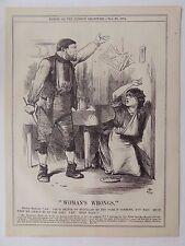 Revista Punch antiguo libro de impresión de 1874 pulgadas Nacional abuso esposa paliza 10x8