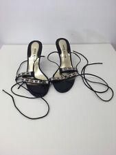 Women's Karen Millen Black Roman Strap High Heel Jewelled Sandals Shoes Size 3.5