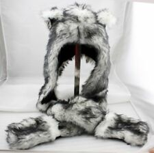 Wolf Animal Hood Hoodie Hat Faux Fur 3 in 1 Function White Fuzzy Mittens Scarf