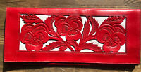 "Vintage Red White Tooled Leather Clutch Purse Envelope Bag Boho East West 12""w"