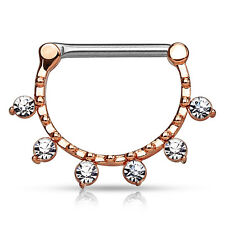 Jeweled Nipple Bar Clicker Ring Rose Goldtone Crystals 14G Piercing jewelry