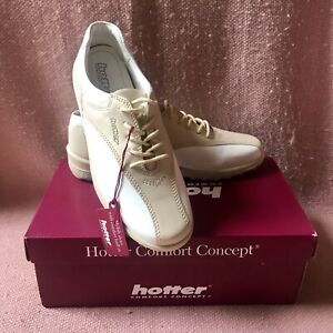 New Hotter 'Tone-AG' Comfort Concept, Cream Leather, Lace Up, Flat, Shoes. UK 6