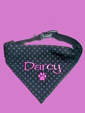 PERSONALISED DOG BANDANA and COLLAR MEDIUM SIZE  ANY NAME embroidery -Clothing
