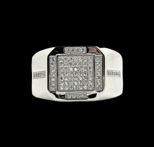 White gold finish Mens round cut created diamond Ring free postage gift box