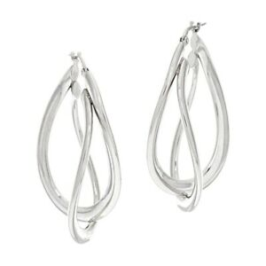 """QVC Vicenza 1-5/8"""" Double Twist Oval Earrings 14k White Gold Over Sterling 925"""