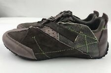 DKNY Womens Brown Lime Green Accents Fashion Abstract Sneakers Shoes Sz 7.5