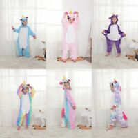 Kids rainbow Unicorn Kigurumi Animal Cosplay Costume Onesie16 Pajamas Sleepwear.