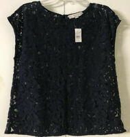 Ann Taylor LOFT  Top Sz M  New with Tags FLORAL LACE Navy Top Blouse