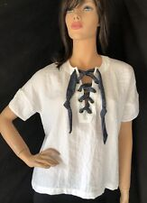 ANTHROPOLOGIE DRA LOS ANGELES LACE UP FRONT WHITE BLOUSE, sz XS oversized