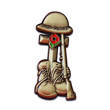 Poppy Badge Helmet Rifle Boots Cross Pin 10% donated to Charities Veterans