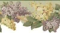 Wallpaper Border Waverly Summer Breeze Purple Gold & Beige Floral on Sage Green