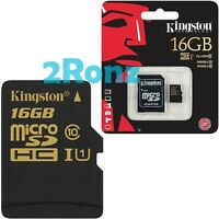 Kingston 16GB 16G 90MB/s Micro SDHC SD TF Card UHS-I Class 10+SD Adapter Mobile