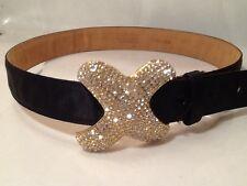 """Vintage 1980s Carlisle Swavorski Crystal """"X"""" Shape Buckle Black Satin Belt Bling"""