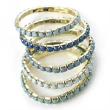 5 Piece Gold Colour & Blue Tone Elasticated Bracelet RRP £6.00 - Brand New & Tag