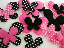 80 Hot Pink/Black Satin Pola Dot Felt Fabric Applique/Trim/Sewing L75-Butterfly