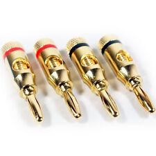 8x premium - 4mm banana plugs - 24k plaqué or-câble haut-parleur/amp hifi connecteurs