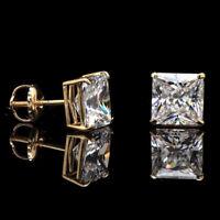 Men's Square Solitaire Hip Hop Yellow Gold Diamond Screw Back Stud Earrings
