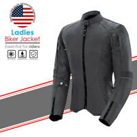 Womens Motorbike Cordura Jacket Ladies Motorcycle Waterproof Armoured Biker Top