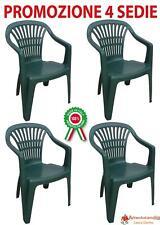 4 Pz Poltrona sedia monoblocco Scilla in dura resina di plastica verde impilabil