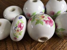 Vintage Porcelain Floral Door Handle Parts Cabinet Drawer Pull Knob Set Of 7