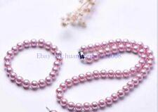 Pretty 8mm Pink Purple south sea shell pearl necklace Bracelet Earring Set