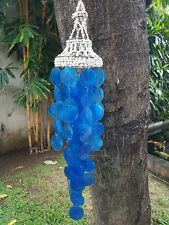 Blue Capiz Shells Wind Chime Garden Decor