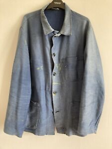 vintage 1950/60s French heavy moleskin chore jacket, faded, splats, darning, L