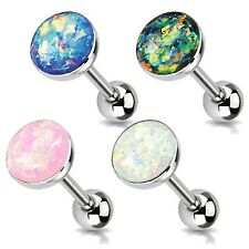 14G Flat Tongue Ring Barbells Big Created-Opal Glitter Tongue Bar Set