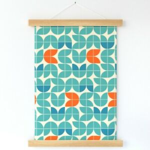 Mid Century Modern Tulips Orange Wall Hanging Print and Hanger by Spoonflower