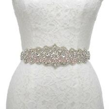 White Satin with Rhinestones Sash Belt for Wedding Homecoming Party Dress Women